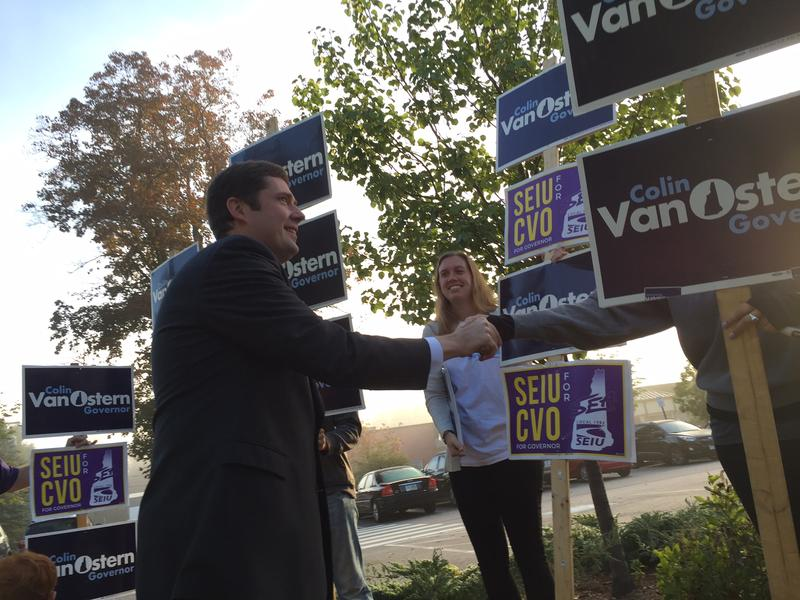 Democratic Gubernatorial candidate Colin Van Ostern greets supporters at Concord's Ward 4