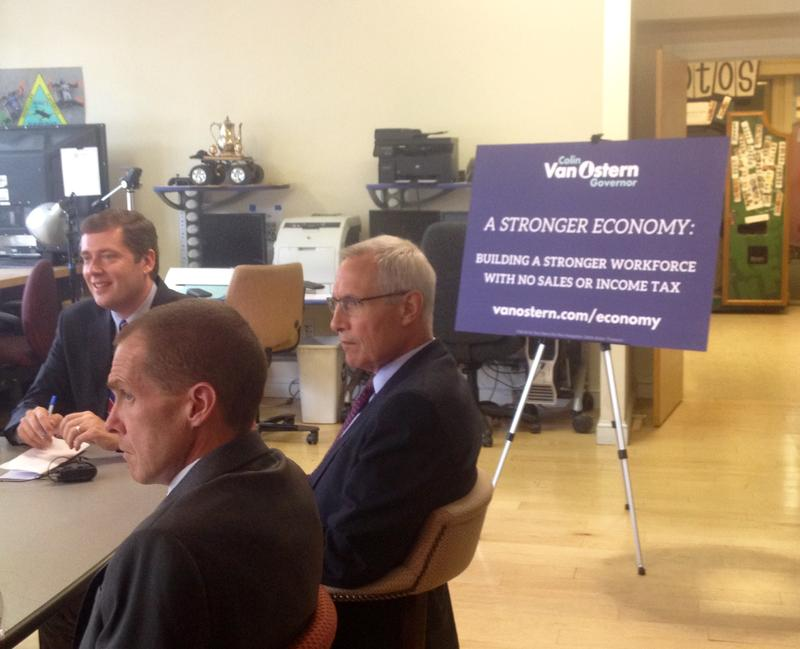 To kickoff his General Election campaign, Colin Van Ostern met with business and local leaders in Nashua to talk about the economy.