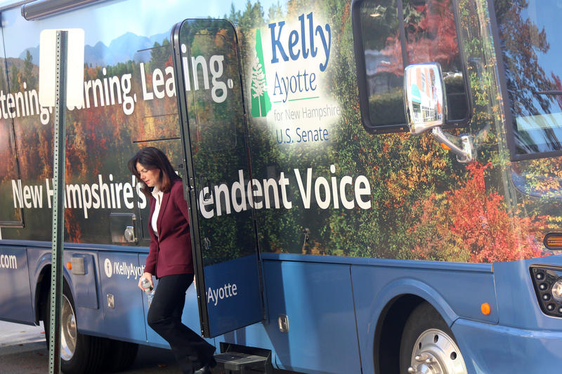 Ayotte arrives in her campaign bus to NHPR's Concord studio