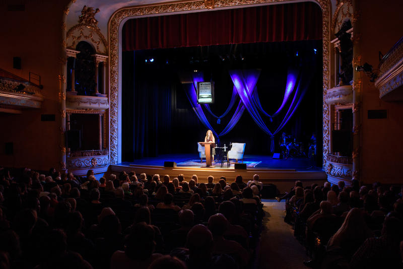 Author Jodi Picoult on stage at The Music Hall in Portsmouth
