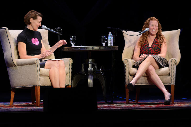 Host Virginia Prescott with author Jodi Picoult