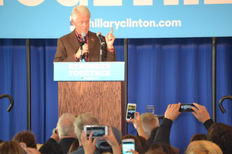 "Bill Clinton told the Hanover crowd he is sick and tired of hearing from the other side that ""America is going to Hell in a hand basket."""