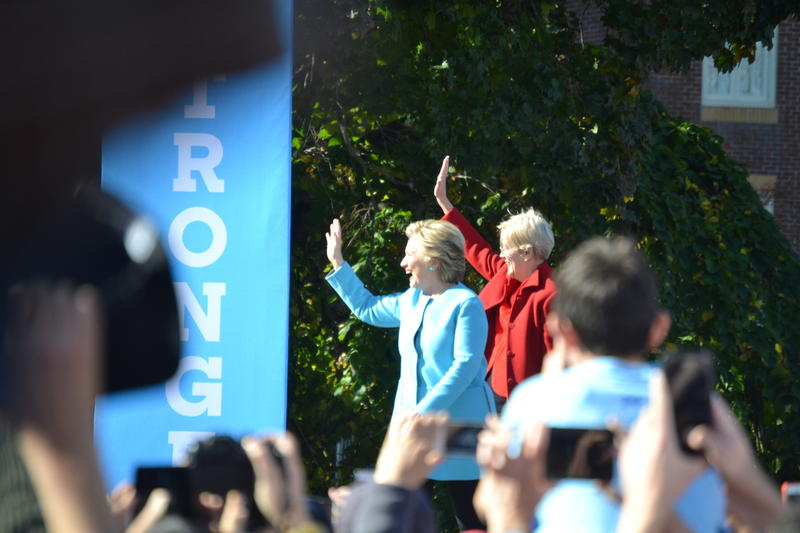 "Hillary Clinton and Massachusetts Senator Elizabeth Warren took the stage to ""Ain't no Mountain High Enough."""