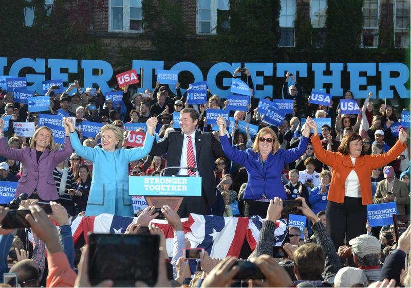 At a rally Monday at Saint Anselm College, Hillary Clinton asks the 4,000 person crowd to vote for her but also all the other Demcrats on the ticket.