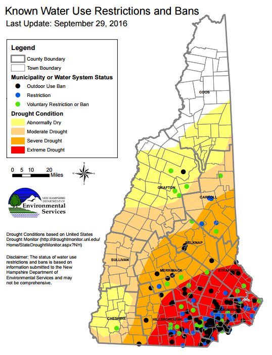 New Hampshire Drought Update Struggling Dairy Farms And Municipal - Us drought map 2016