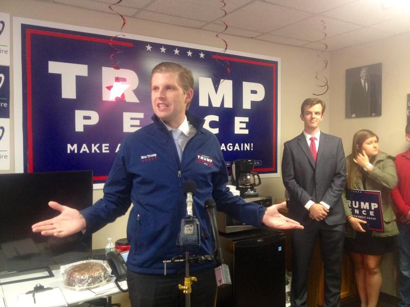 Donald Trump's son, Eric, made the rounds at his father's campaign offices in N.H. on Tuesday, Oct. 25, 2016.
