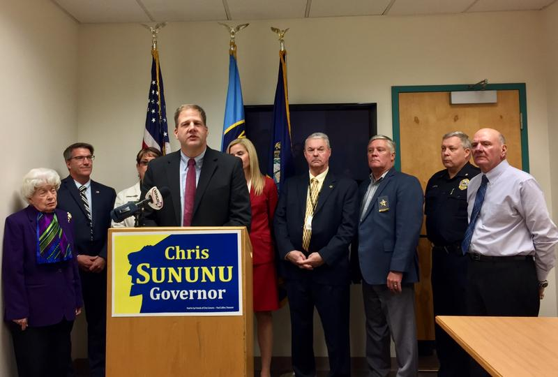 Chris Sununu outlined his priorities for the state's drug crisis at thw Windham Police Department on Wednesday, joined by elected officials and law enforcement.