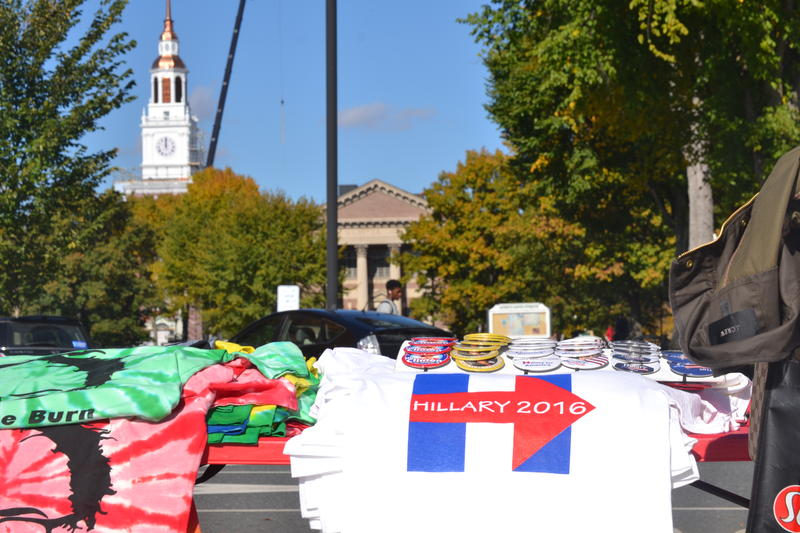 Hillary Clinton memorabilia was being sold outside the Bill Clinton event at Dartmouth College on Monday, Oct. 17, 2016.