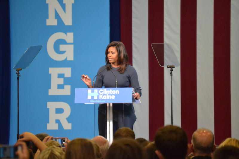 "Michelle Obama told the N.H. crowd she felt sick that a presidential candidate was actually ""bragging about sexually assaulting women."""