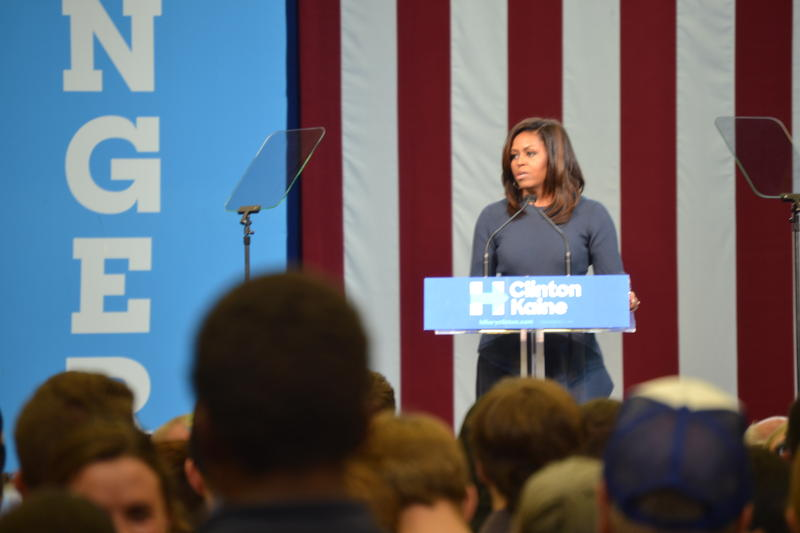 "First Lady Michelle Obama calls Donald Trump's treatment of women ""disgraceful"" and ""intolerable"" at rally in Manchester, N.H."