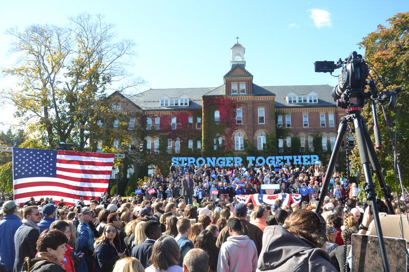 More than 4,000 people came out to see Hillary Clinton in Manchester on Monday, Oct. 24, 2016.