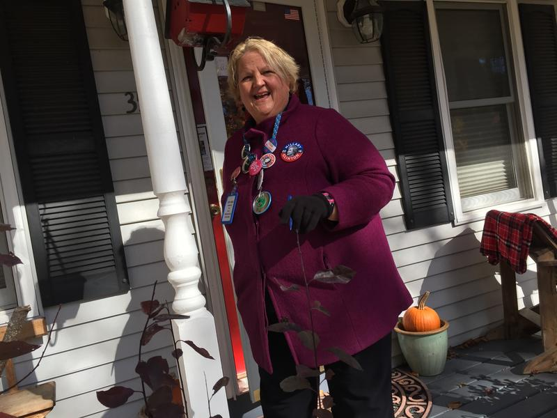 Democratic volunteer Judi Lanza out canvassing in Goffstown.