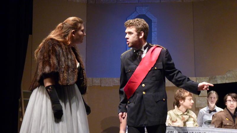 Michael Giordano as Macbeth, and Madison Ferrara as Lady Macbeth, in a production at Sanborn Regional High School.