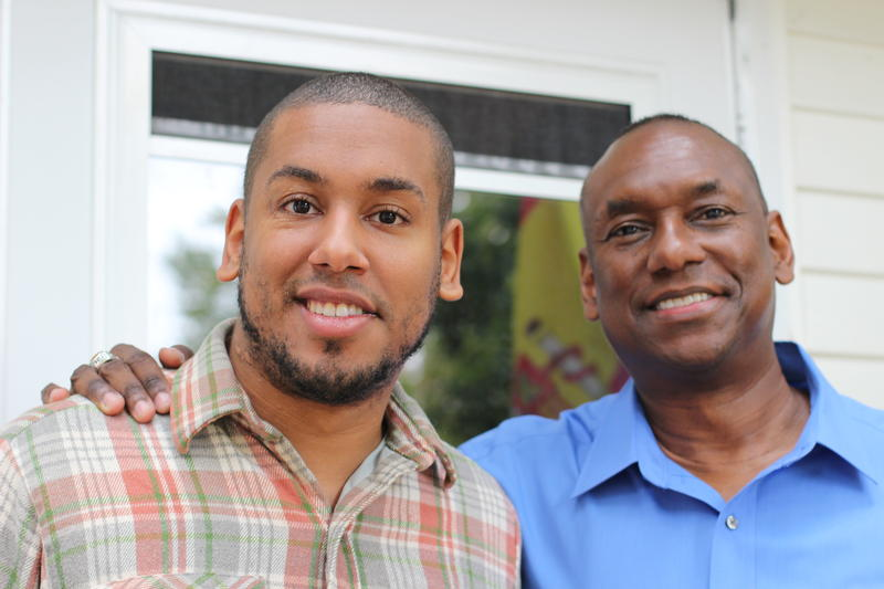 Dominiq Russell (left) and his father Shelby Russell (right) at their home in Milford, N.H. Dominiq's parents were instrumental in helping him navigate N.H.'s veterans' court system.