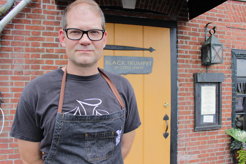 Chef Evan Mallett outside his restaurant, Black Trumpet, in Portsmouth, N.H.