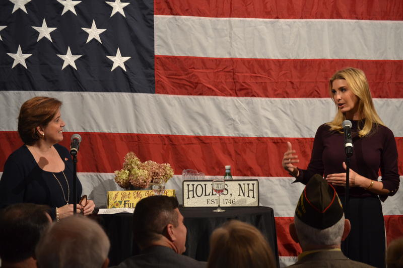 Ivanka Trump took questions from the N.H. Republican Party Chair Jennifer Horn at a town hall event in Hollis.