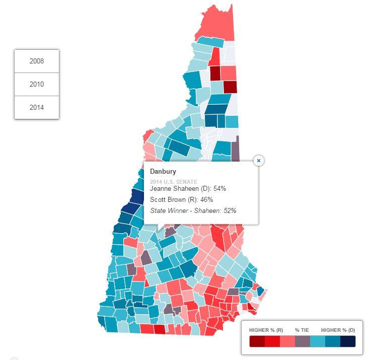NH Map How Has Your Town Voted In Recent Elections New - State of nh map