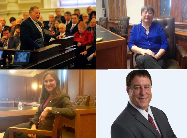 The four-way race for speakership is between incumbent Speaker Shawn Jasper (top left), Rep. Carol McGuire (top right), Rep. Laurie Sanborn (bottom left), Rep. Frank Sapareto (bottom right).