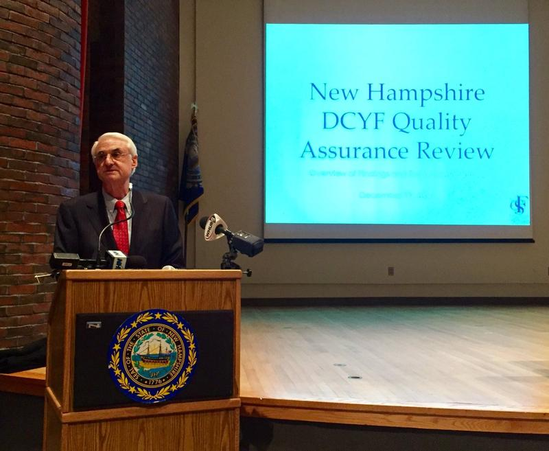 Department of Health and Human Services Commissioner Jeffrey Meyers, whose agency oversees child protective services in New Hampshire, addresses the findings of a review of the state's handling of reports of child abuse and neglect.