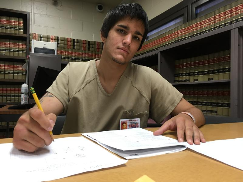 Webber studying for his GED while held on $500 bail at the Valley Street Jail