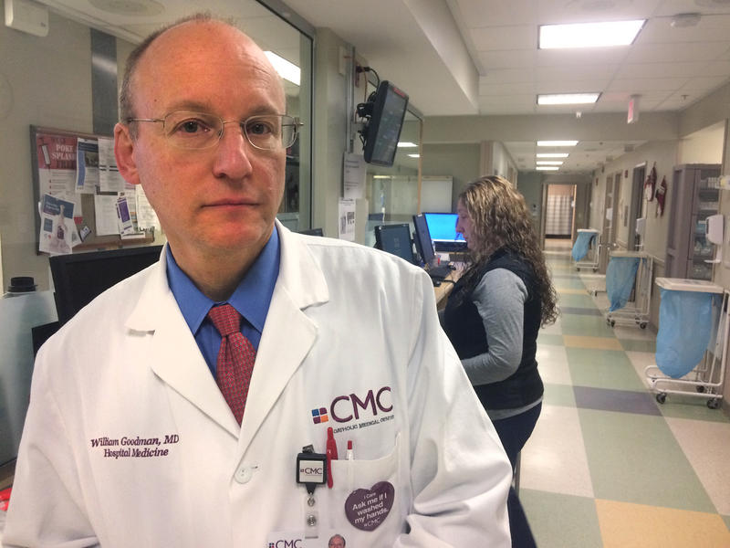 Dr. William Goodman, Chief Medical Officer, stands in Catholic Medical Center's Emergency Department, where 1,033 patients addicted to opioids were seen in 2016.