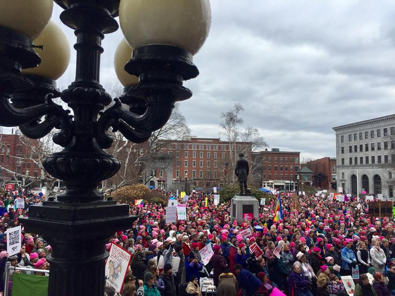 Roughly 5,000 people crowded around the Statehouse for Saturday's event, according to organizers.