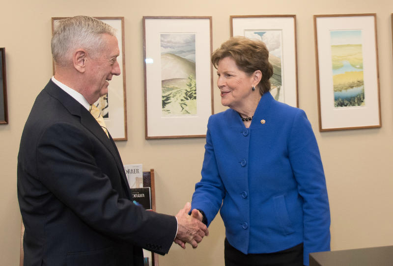 Sen. Jeanne Shaheen (right) meets with General James Mattis last week.