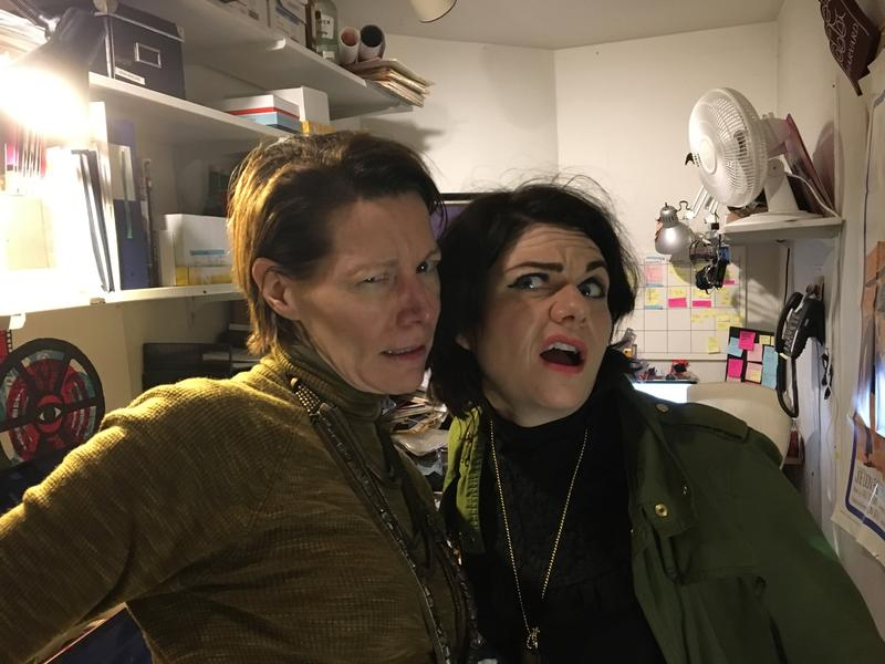 Virginia & Caitlin ham it up in the Brattle Theater office we recorded in.