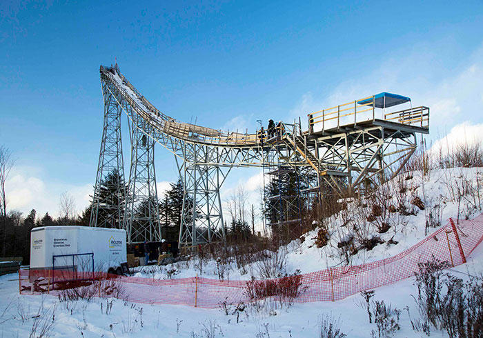 Work on the Nansen Ski Jump began in November and wrapped up in January.