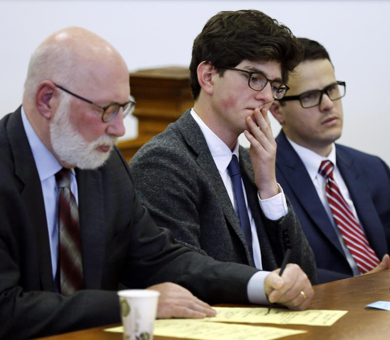 Owen Labrie sits in the courtroom during his sentencing hearing in 2015.