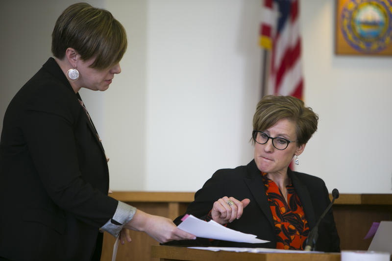 Owen Labrie's attorney Robin Malone questions attorney Jaye Rancourt during the first day of Labrie's motion for a new trial.