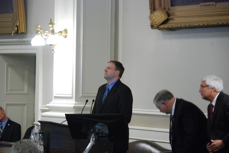 Gov. Chris Sununu outlined his version of the state budget at the Statehouse Thursday, Feb. 9, 2017.