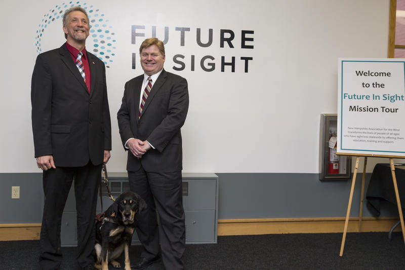 Randy Pierce (left), Future In Sight Board Chair, with guide dog Autumn, and David Morgan (right), Future In Sight President & CEO