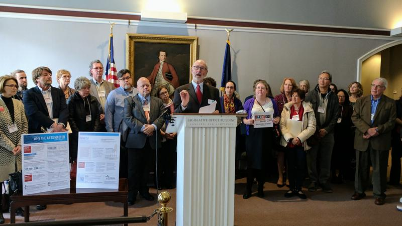 Chair of the New Hampshire State Council on the Arts Roger Brooks spoke at a press conference on Wednesday.