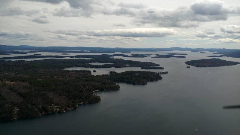 "The view over Lake Winnipesaukee as of Monday morning, not long after ""ice out"" was declared."