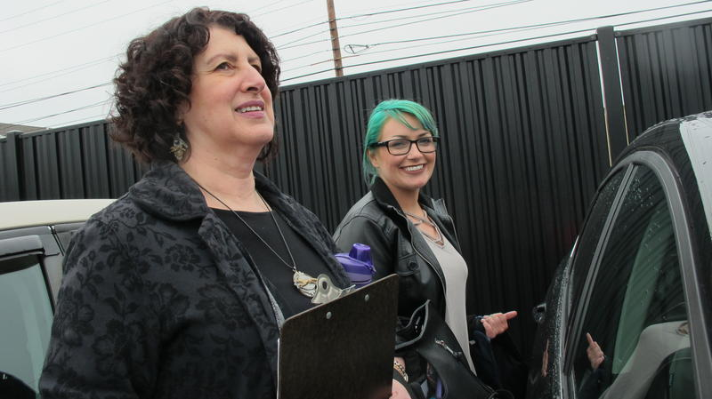 Angela Delyani, a mental health advocate, and Rachel Carpenter, an advocate with the YWCA.
