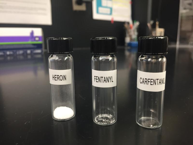 These vials show the lethal dosage of each drug. As you can see Carfentanil is significantly more potent.