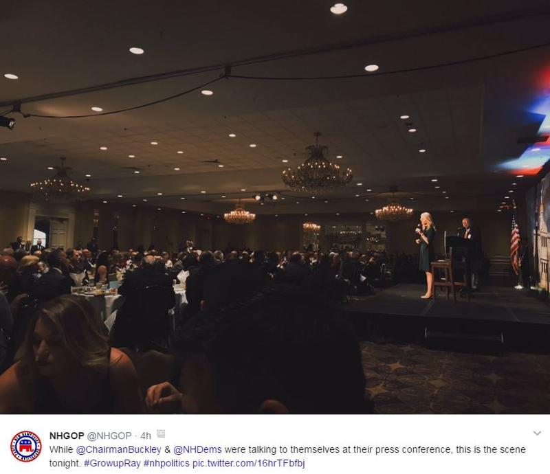 While the party didn't let the press into its dinner, it did post photos (and swipes at political opponents) from the event on its public Twitter page.