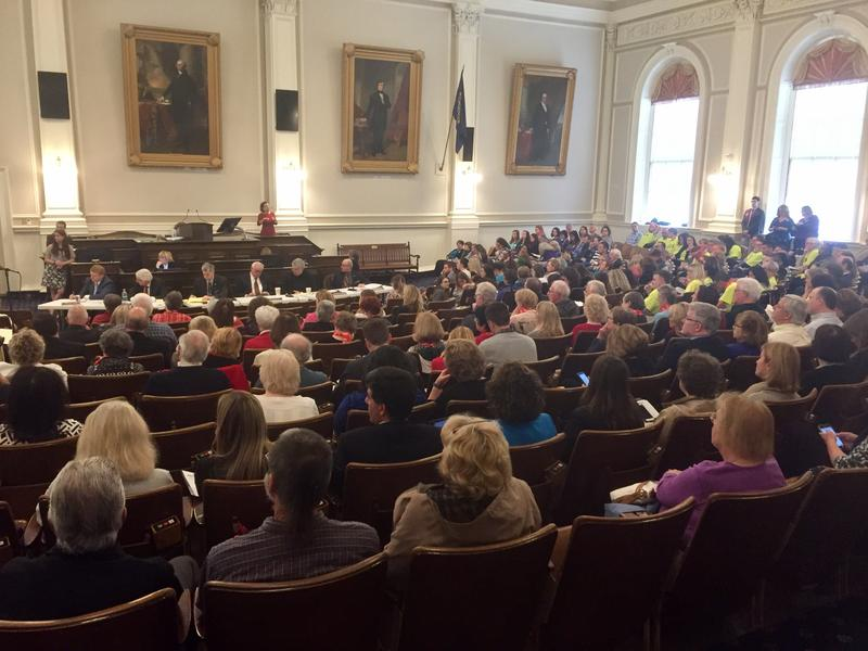 The House Chamber was packed Tuesday with people advocating for what they say should be the state's spending priorities.