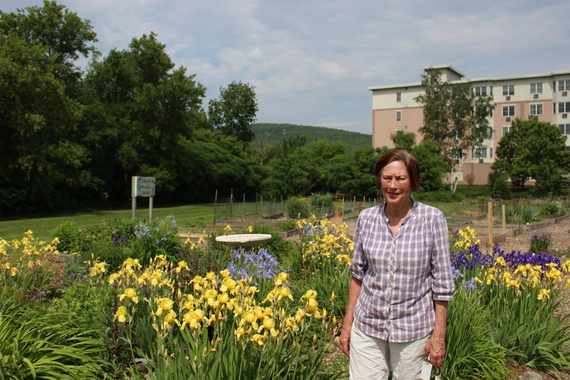 Helen Brody at her community garden in Lebanon, NH.