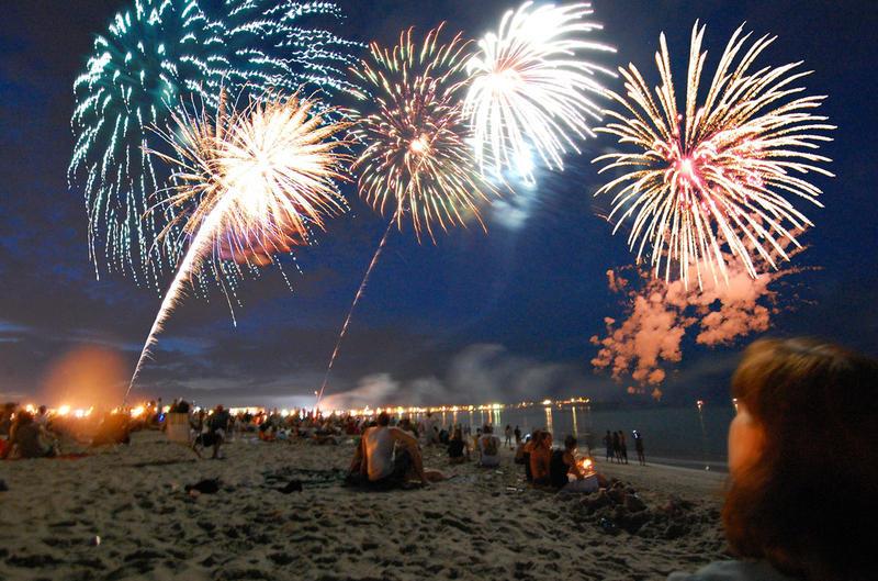 A professional fireworks display at Hampton Beach