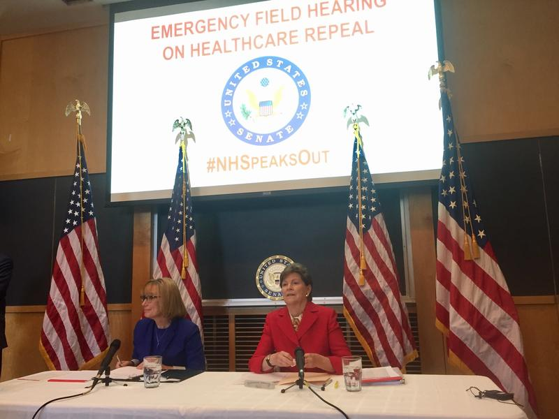 Roughly 200 people showed up Friday in Concord to voice their concerns to U.S. Senators Maggie Hassan and Jeanne Shaheen about the Senate's new health care bill.