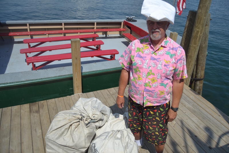 Bruce Corsetti has a tradtion - he sports a new outfit every time he comes to collect the mail at Camp Lawrence Island.
