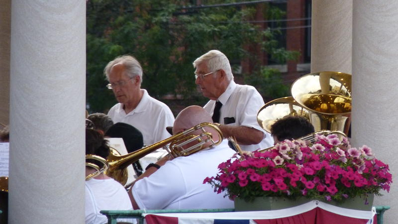 Charles 'Chick' MacDougall, right, has been playing percussion in the band since 1956.