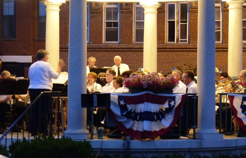 Led by director Michele Boulanger, the Exeter Brass Band performs from the Swasey Pavilion on a recent Monday night.