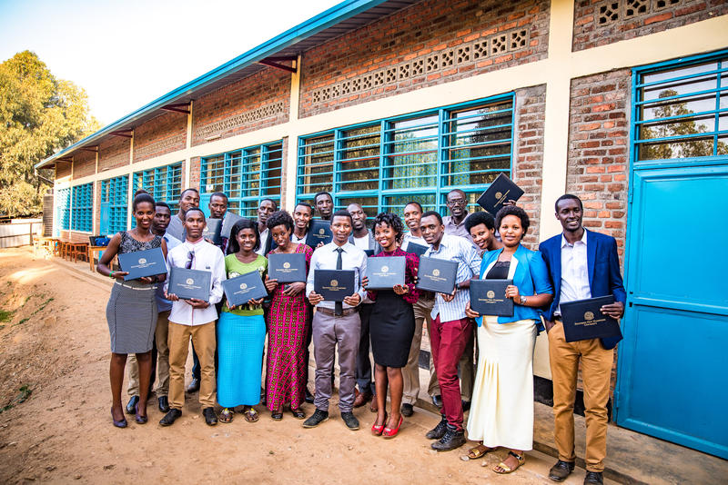 SNHU's first group of graduates at the Kiziba refugee camp in Rwanda.