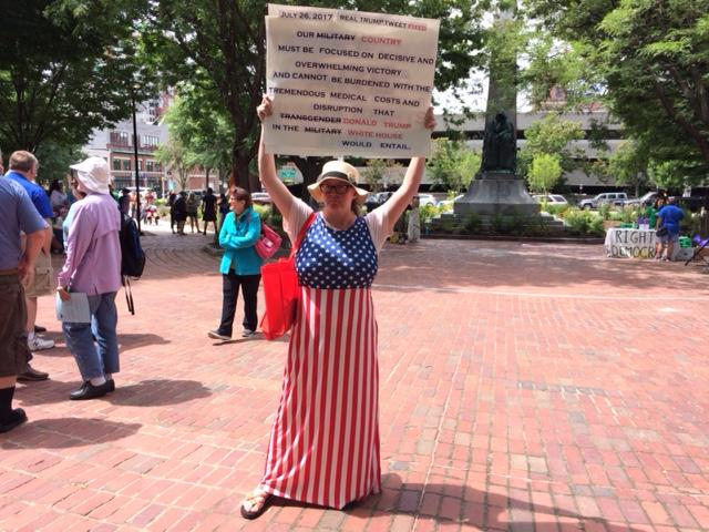 Ann Putnam was among those rallying in support of transgender right in Manchester Saturday.