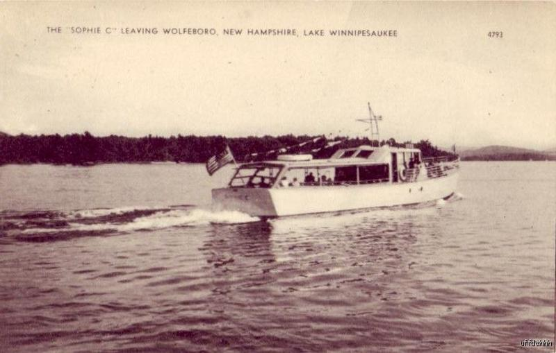 An old photo of the Sophie C. dropping mail off in Wolfeboro.