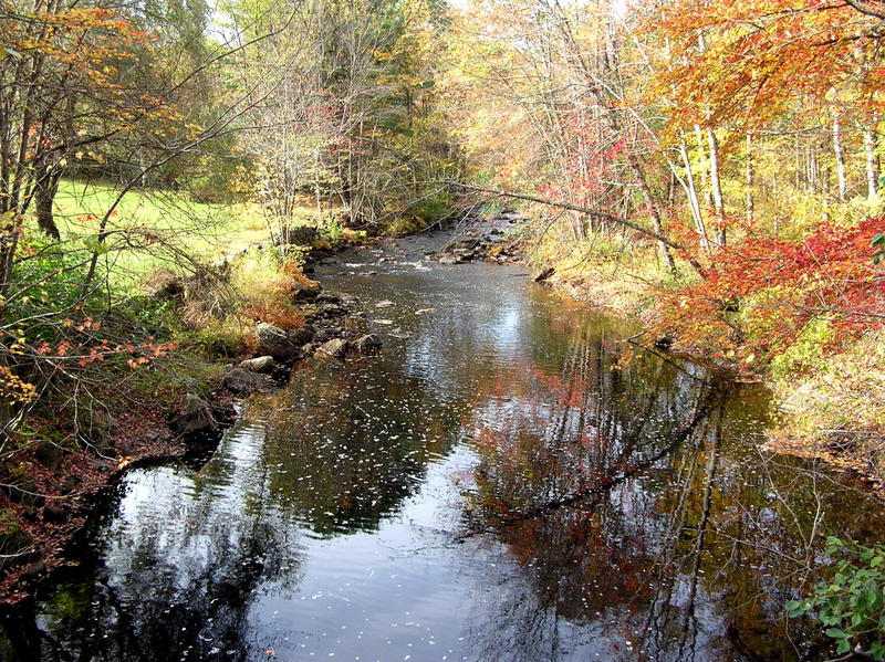 The Warner River seen from a bridge in Warner, New Hampshire.