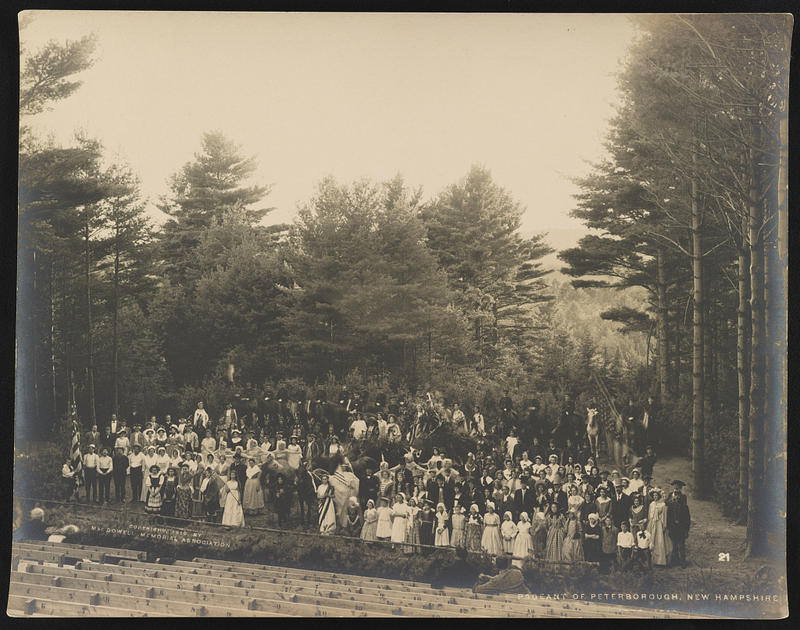 This 1910 photograph shows actors dressed in historical costumes on outdoor stage for pageant at the MacDowell Colony.